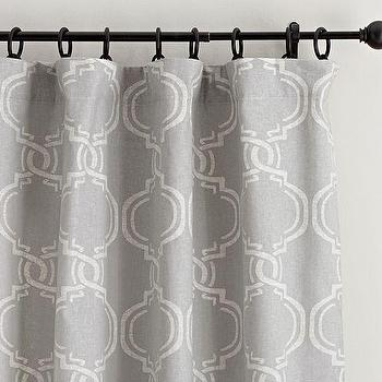Window Treatments - Avery Linen/Cotton Print Drape | Pottery Barn - gray moroccan print drape, gray moroccan tile drapes, gray moroccan tile curtains,