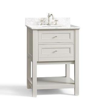 Bath - Classic Mini Sink Console - Gray | Pottery Barn - gray two drawer sink console, gray two drawer sink vanity, sink vanity with drawers and shelf, marble topped two drawer sink vanity,