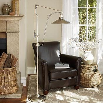 Lighting - Glendale Pulley Task Floor Lamp | Pottery Barn - antique nickel pulley floor lamp, nickel pulley task lamp, industrial antique nickel floor lamp,