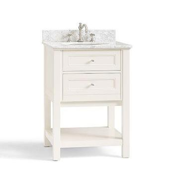 Bath - Classic Mini Sink Console - White | Pottery Barn - white two drawer sink console, sink vanity with drawers and shelf, white marble topped sink console,