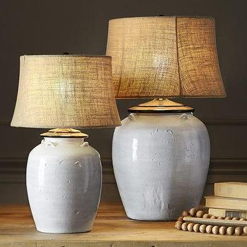 Lighting - Courtney Ceramic Table Lamp Base - Ivory | Pottery Barn - ivory urn table lamp, glazed urn table lamp, japanese urn table lamp,