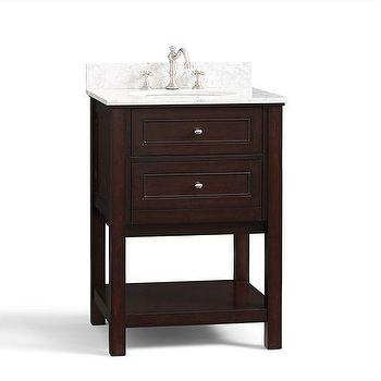 Bath - Classic Mini Sink Console - Espresso | Pottery Barn - espresso two drawer sink console, two drawer sink vanity, sink vanity with drawers and shelf, marble topped espresso sink vanity,