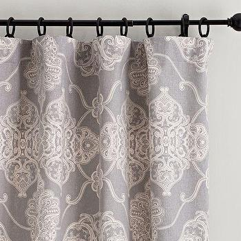 Window Treatments - Alana Medallion Linen/Cotton Drape | Pottery Barn - gray medallion print drapes, gray medallion curtains, patterned gray linen drapes, patterned gray linen curtains,