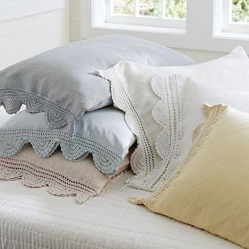 Bedding - Crochet Trimmed Standard Sham | Pottery Barn - crochet trimmed pillow case, crochet pillow case, crochet trimmed pillow sham,