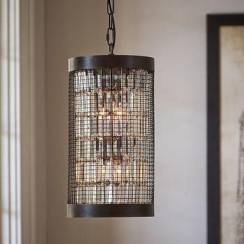 Lighting - Austin Caged Crystal Small Pendant | Pottery Barn - steel caged pendant, crystal droplet cage pendant, glass droplet and steel pendant,