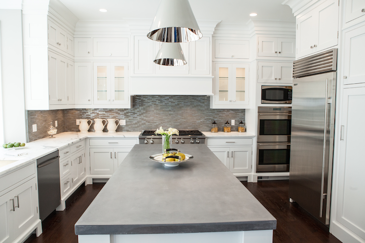 Concrete countertops transitional kitchen integrity for Cement kitchen cabinets
