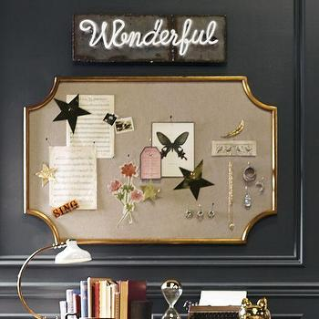 Art/Wall Decor - The Emily + Meritt Scallop Statement Pinboard | PBteen - gold scalloped pinboard, gold framed pinboard, gold cut corner pinboard,