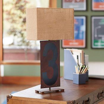 Lighting - Rustic Number Table Lamp | PBteen - number 3 table lamp, rustic numbered table lamp, numeral 3 table lamp,