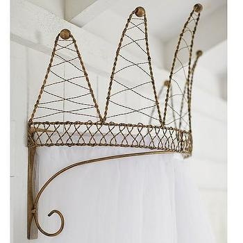 Art/Wall Decor - Crown Cornice with Tulle Sheers | Pottery Barn Kids - gold crown cornice, crown shaped bedroom cornice, gold crown bed cornice,