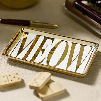Decor/Accessories - The Emily + Meritt Meow Tray | PBteen - meow tray, meow desk accessories, gold meow print catchall,