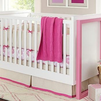 Beds/Headboards - Hadley Crib | Pottery Barn Kids - pink and white crib, modern pink and white crib,