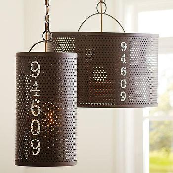 Lighting - Westside Pendant | PBteen - industrial numbered pendant light, perforated numbered pendant, perforated iron pendant light,