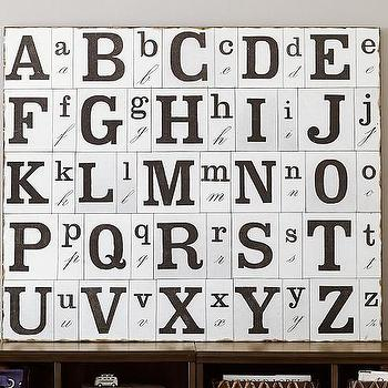 Art/Wall Decor - ABC Vintage Etching Art | Pottery Barn Kids - vintage alphabet art, black and white alphabet art, typographical alphabet art,