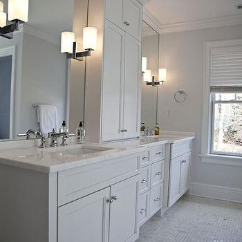 Integrity Custom Woodworks - bathrooms - his and her vanities, his and her washstands, his and her sink vanities, center console cabinet, white marble countertop, his and her sinks, frameless vanity mirror, marble grid tiles, marble grid floor, single wall vanity,