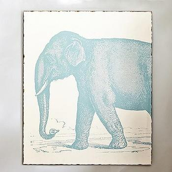 Art/Wall Decor - Elephant Vintage Etching Art | Pottery Barn Kids - elephant etching wall art, blue elephant wall art, blue elephant etched print,