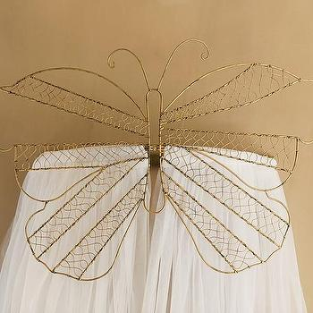 Art/Wall Decor - Butterfly Cornice with Tulle Sheers | Pottery Barn Kids - gold butterfly cornice, butterfly shaped bed cornice, gold butterfly kids bed cornice,