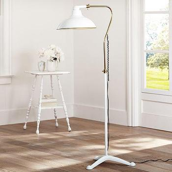 Lighting - Windsor Floor Lamp | PBteen - white and brass floor lamp, down facing dome floor lamp, vintage style white and brass floor lamp,