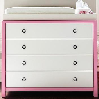 Storage Furniture - Hadley Nursery Dresser & Topper | Pottery Barn Kids - pink framed nursery dresser, pink and white kids dresser, pink framed dresser, modern pink and white dresser,