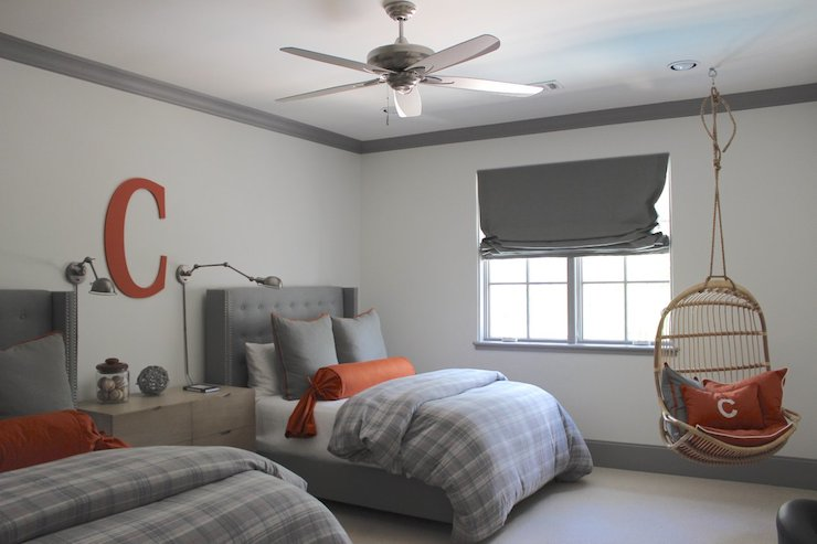 Gray And Orange Bedrooms Transitional Boy S Room