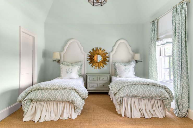 Mint green bedrooms transitional girl 39 s room talbot for Mint green and white room
