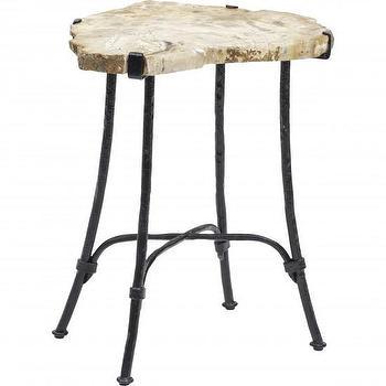 Seating - Palecek Sliced Petrified Wood Table I High Fashion Home - sliced wood accent table, petrified wood side table, wood slab side table,