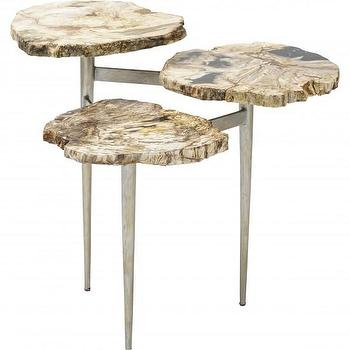 Tables - Petrified Wood Tier Table Palecek I High Fashion Home - petrified wood table, petrified wood tiered table, organic shaped wood side table,