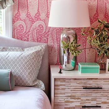Furbish Studio - bedrooms: paisley wallpaper, pink paisley wallpaper, antonina vella wallpaper, vaulted ceiling, bedroom vaulted ceiling, vaulted bedroom ceiling, attic bedroom, headboard in front of window, camelback headboard, suzani blanket, mint green bolster pillows, mint green velvet pillows, velvet bolster pillows, west elm nightstands, tiled nightstands, wood tiled nightstands, mercury glass lamps, attic bedroom ideas, tiffany blue lacquer box, attic bedroom ideas, pink wallpaper,