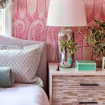 Furbish Studio - bedrooms - paisley wallpaper, pink paisley wallpaper, antonina vella wallpaper, vaulted ceiling, bedroom vaulted ceiling, vaulted bedroom ceiling, attic bedroom, headboard in front of window, camelback headboard, suzani blanket, mint green bolster pillows, mint green velvet pillows, velvet bolster pillows, west elm nightstands, tiled nightstands, wood tiled nightstands, mercury glass lamps, attic bedroom ideas, tiffany blue lacquer box, attic bedroom ideas, pink wallpaper,