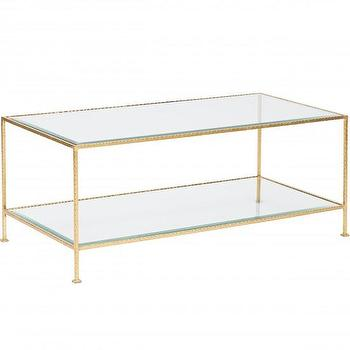 Tables - Worlds Away Taylor 2 Tier Rectangle Coffee Table I High Fashion Home - hammered gold coffee table, gold leaf coffee table, gold 2 tier coffee table, gold two tiered coffee table,