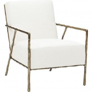 Seating - Tremont Chair I High Fashion Home - bronze framed chair, faux bois lounge chair, bronze faux bois chair,