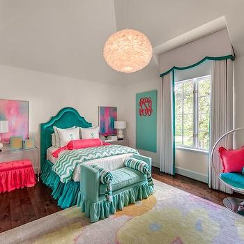 Teal Headboards, Contemporary, girl's room, Talbot Cooley Interiors