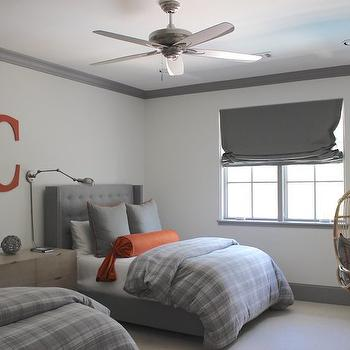 Gray and Orange Bedrooms, Transitional, boy's room, Talbot Cooley Interiors