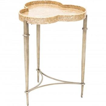 Tables - Clover Accent Table I High Fashion Home - clover shaped side table, clover capiz shell table, capiz shell side table, crushed capiz shell accent table,