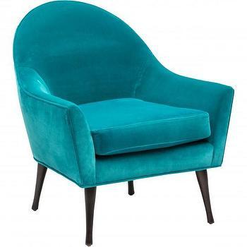 Seating - Calvin Chair - Aquamarine I High Fashion Home - aquamarine chair, mid century style blue chair, turquoise arm chair,