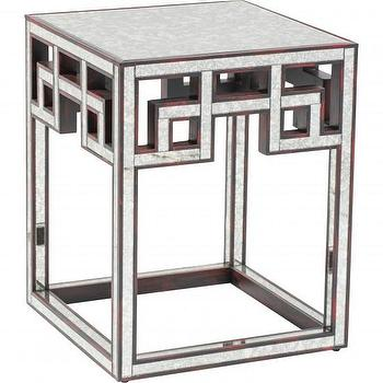 Tables - Worlds Away Fretwork Antique Side Table I High Fashion Home - fretwork mirrored side table, antiqued mirrored side table, geometric mirrored side table,