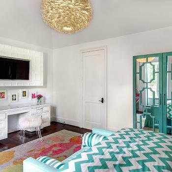 Teal Mirrored Armoire, Contemporary, girl's room, Talbot Cooley Interiors