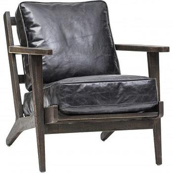 Seating - Brooks Lounge Chair - Ebony I High Fashion Home - mid century style leather chair, black leather lounge chair, leather and wood lounge chair, forties style lounge chair, 1940s style lounge chair,