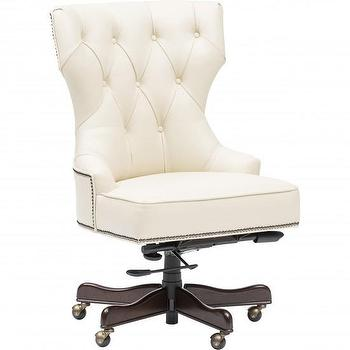 Seating - Executive Tufted Leather Chair I High Fashion Home - white tufted leather chair, white leather desk chair, tufted leather swivel chair, leather desk chair with nailhead trim,