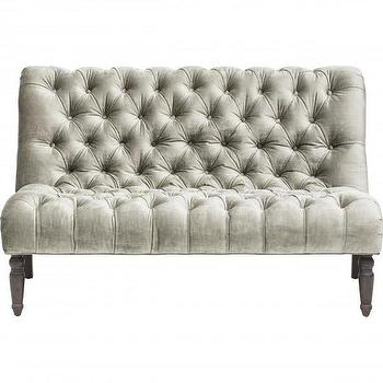 Seating - Caitlin Armless Loveseat I High Fashion Home - gray tufted loveseat, gray velvet tufted loveseat, dove gray velvet loveseat, button tufted armless loveseat,