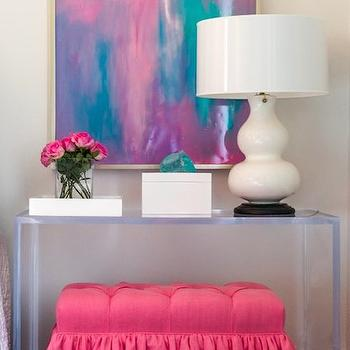 Talbot Cooley Interiors - dens/libraries/offices - lucite console table, lucite table, waterfall lucite table, lucite foyer table, hot pink bench, pink tufted bench, hot pink tufted bench, white lacquer box, abstract art, ruffled bench, pink ruffled bench, hot pink ruffled bench,