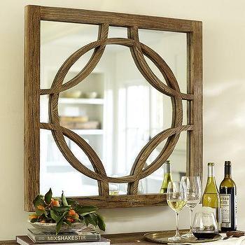 Mirrors - Small Teagan Circle Link Mirror | Pottery Barn - geometric circle link mirror, reclaimed elm mirror, interlocking circle wood mirror,