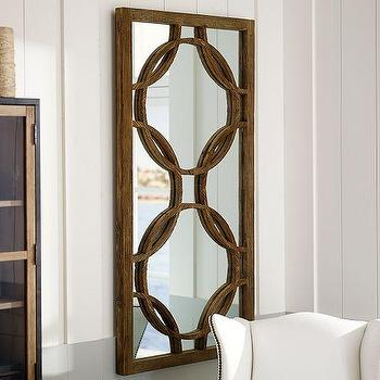 Mirrors - Large Teagan Circle Link Mirror | Pottery Barn - interlocking circles mirror, wooden circle patterned mirror, reclaimed elm mirror, geometric wooden mirror,