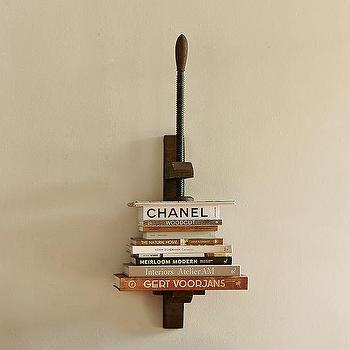 Art/Wall Decor - Book Press Shelf | Pottery Barn - book press shelf, metal vice shelf, industrial wall shelf, vintage tool shelf,