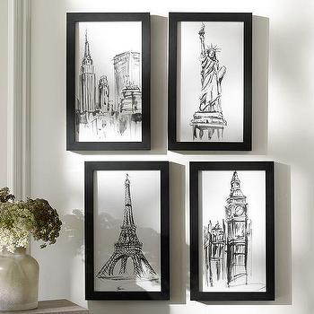 Art/Wall Decor - City Icon Framed Prints | Pottery Barn - famous city art print, architectural city art prints, famous skyline art print,