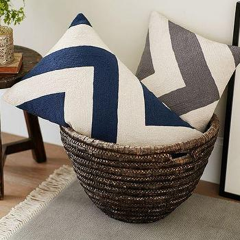 Pillows - Chevron Crewel Embroidered Lumbar Pillow Cover | Pottery Barn - navy chevron lumbar pillow, gray chevron lumbar pillow, chevron embroidered lumbar pillow, chevron crewel lumbar pillow,