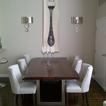 Wood and Chrome Dining Table, Transitional, dining room, Emily Griffin Design