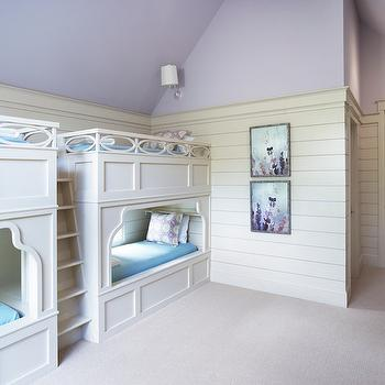Markalunas Architecture Group - girl's rooms - Benjamin Moore - Spring Violet - kids bunk room, girls bunk room, built in bunk beds, girls bunk beds, wainscoted bunk beds, wainscoted bunk beds, 2 sets of bunk beds, 4 bunk beds, turquoise blankets, turquoise bedding, kids bedding, lavender paint colors, lavender wall paint, vaulted ceiling, kids room vaulted ceiling, vaulted kids room ceiling, lavender ceiling, lavender kids rooms, bunk bed bedding,
