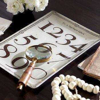 Decor/Accessories - Decoupage Typography Tray | Pottery Barn - numbered catchall tray, decoupage catchall tray, numbered typography tray,