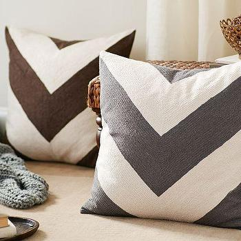Pillows - Chevron Crewel Embroidered Pillow Cover | Pottery Barn - gray chevron pillow, brown chevron pillow, gray and white chevron pillow, brown and white chevron pillow,
