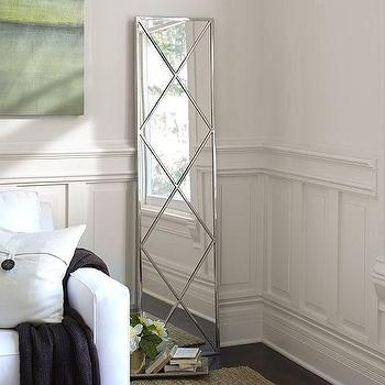 Mirrors - Isabel Silver Diamond Floor Mirror | Pottery Barn - diamond patterned floor mirror, silver diamond floor mirror, silver floor mirror, contemporary silver floor mirror,
